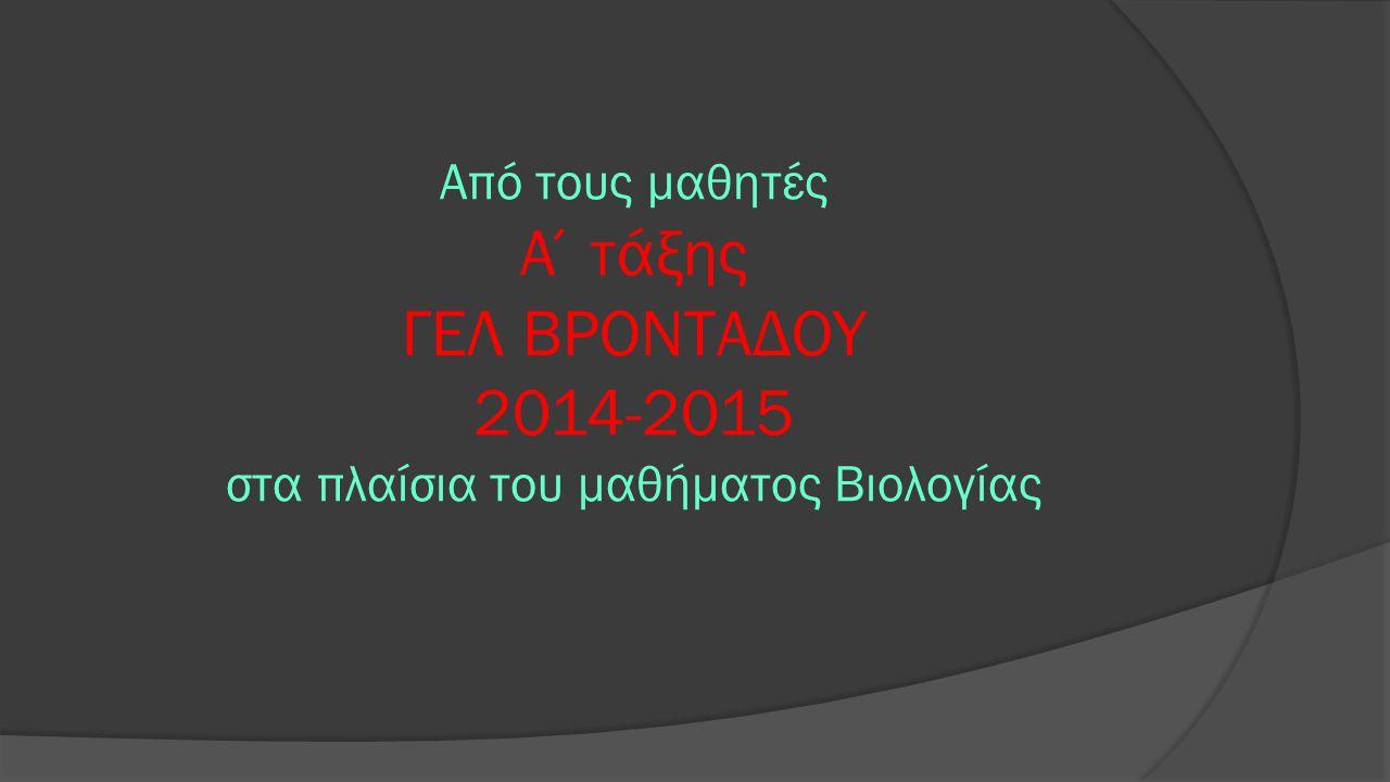 Από τους μαθητές Α΄τάξης ΓΕΛ ΒΡΟΝΤΑΔΟΥ 2014-2015 στα πλαίσια του μαθήματος Βιολογίας