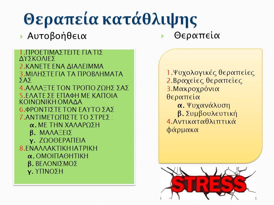 Θεραπεία κατάθλιψης Αυτοβοήθεια Θεραπεία 1.Ψυχολογικές θεραπείες