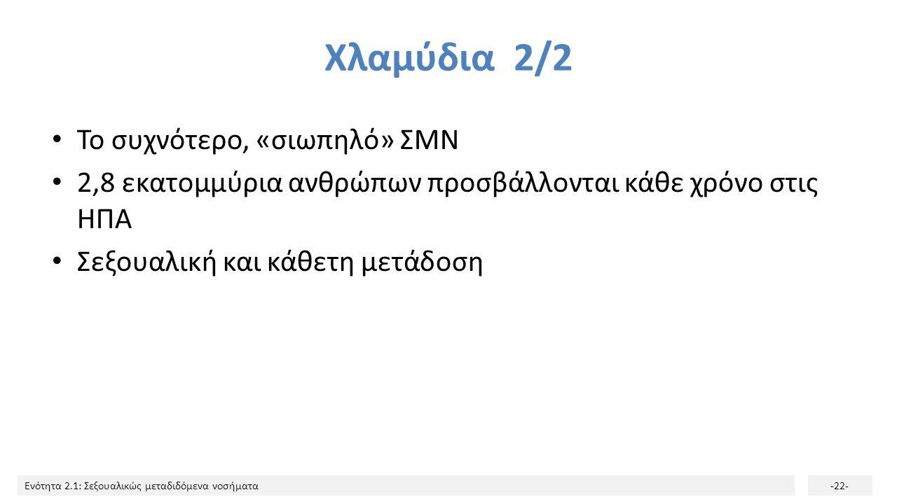 Χλαμύδια 2/2 Το συχνότερο, «σιωπηλό» ΣΜΝ