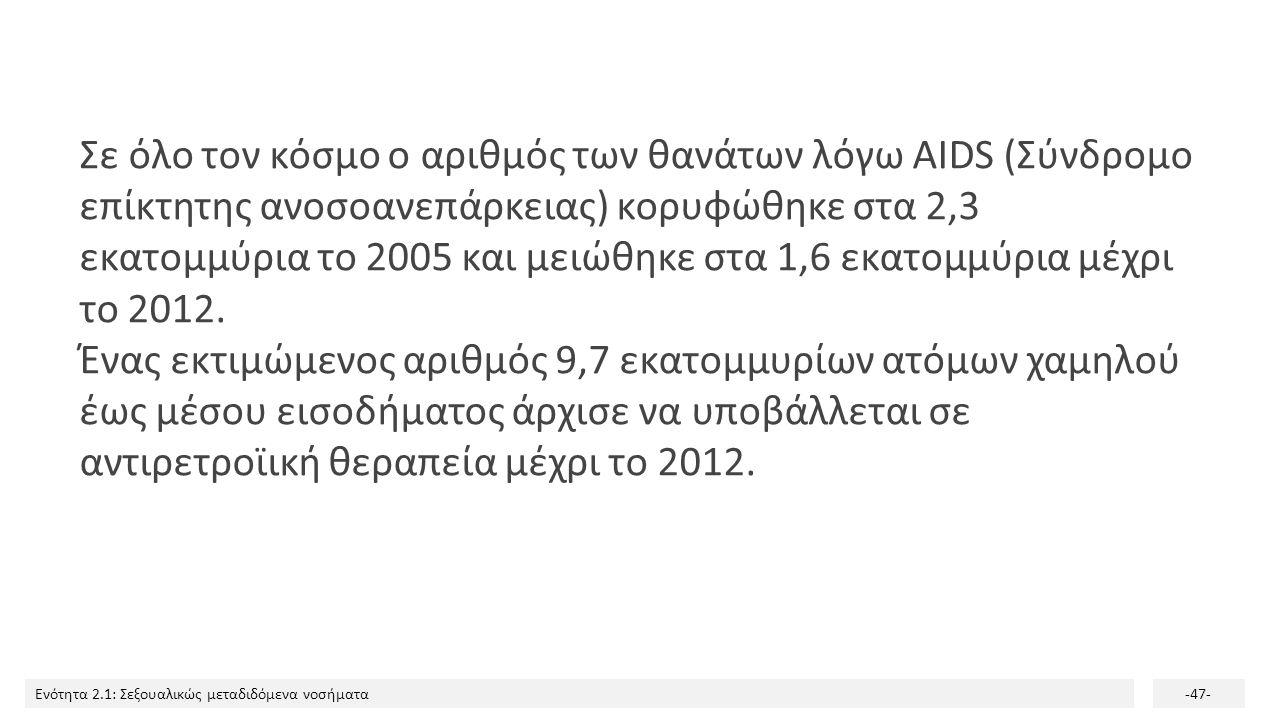 Σε όλο τον κόσμο ο αριθμός των θανάτων λόγω AIDS (Σύνδρομο επίκτητης ανοσοανεπάρκειας) κορυφώθηκε στα 2,3 εκατομμύρια το 2005 και μειώθηκε στα 1,6 εκατομμύρια μέχρι το 2012.