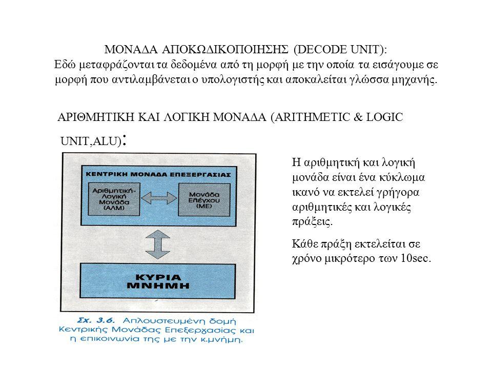 ΜΟΝΑΔΑ ΑΠΟΚΩΔΙΚΟΠΟΙΗΣΗΣ (DECODE UNIT): Εδώ μεταφράζονται τα δεδομένα από τη μορφή με την οποία τα εισάγουμε σε μορφή που αντιλαμβάνεται ο υπολογιστής και αποκαλείται γλώσσα μηχανής.