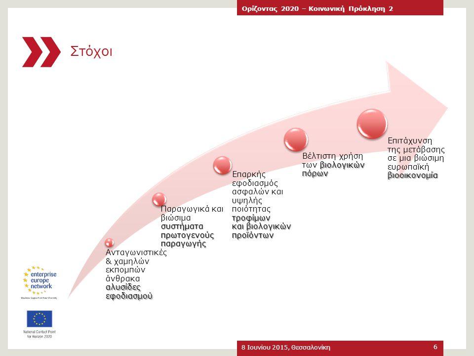 Στόχοι Επιτάχυνση της μετάβασης σε μια βιώσιμη ευρωπαϊκή βιοοικονομία