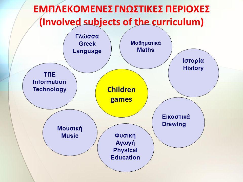 ΕΜΠΛΕΚΟΜΕΝΕΣ ΓΝΩΣΤΙΚΕΣ ΠΕΡΙΟΧΕΣ (Involved subjects of the curriculum)