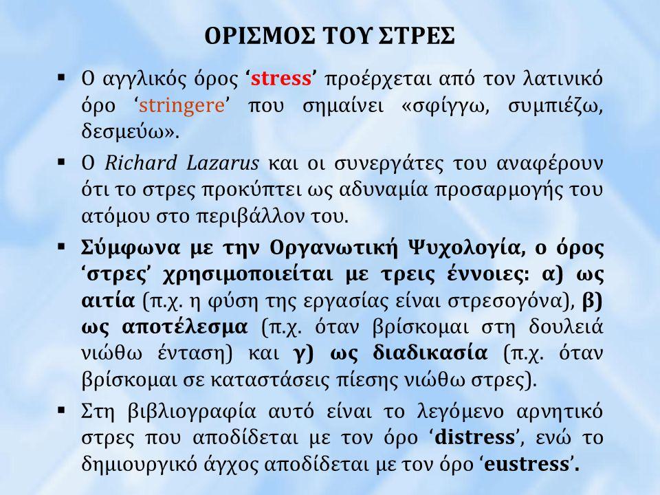 ΟΡΙΣΜΟΣ ΤΟΥ ΣΤΡΕΣ Ο αγγλικός όρος 'stress' προέρχεται από τον λατινικό όρο 'stringere' που σημαίνει «σφίγγω, συμπιέζω, δεσμεύω».