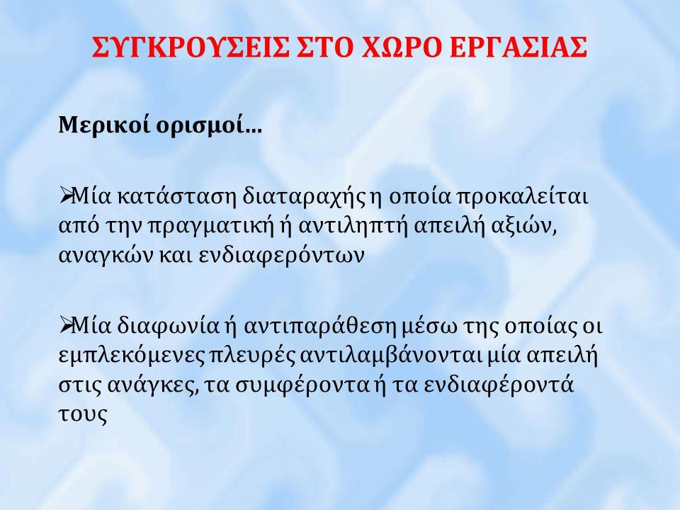ΣΥΓΚΡΟΥΣΕΙΣ ΣΤΟ ΧΩΡΟ ΕΡΓΑΣΙΑΣ