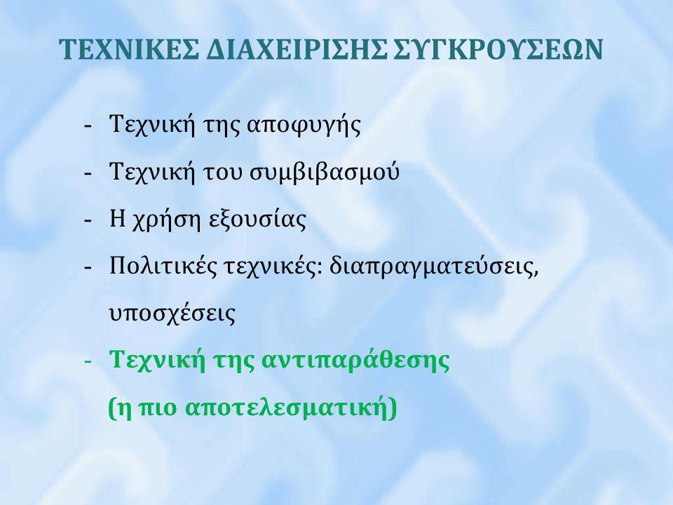 ΤΕΧΝΙΚΕΣ ΔΙΑΧΕΙΡΙΣΗΣ ΣΥΓΚΡΟΥΣΕΩΝ
