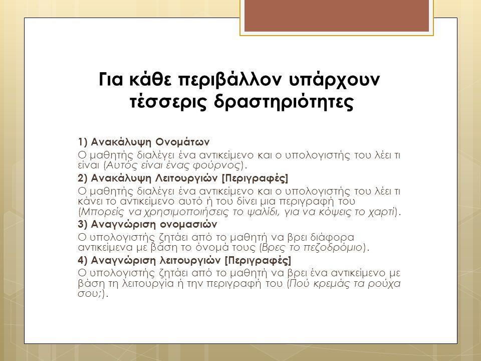 Για κάθε περιβάλλον υπάρχουν τέσσερις δραστηριότητες