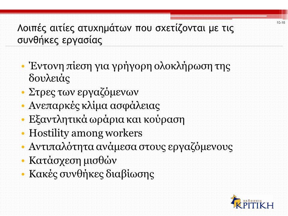 Λοιπές αιτίες ατυχημάτων που σχετίζονται με τις συνθήκες εργασίας