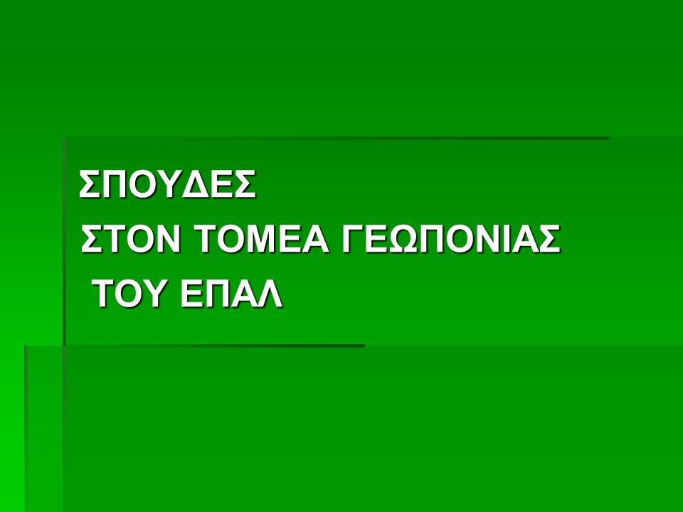 ΣΠΟΥΔΕΣ ΣΤΟΝ ΤΟΜΕΑ ΓΕΩΠΟΝΙΑΣ ΤΟΥ ΕΠΑΛ