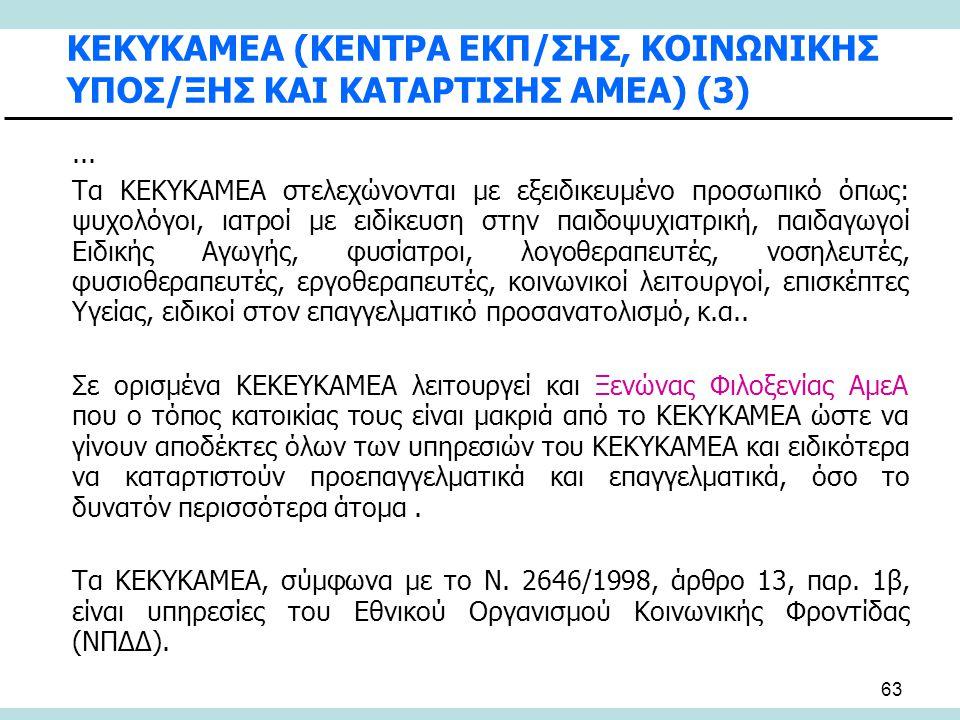 ΚΕΚΥΚΑΜΕΑ (ΚΕΝΤΡΑ ΕΚΠ/ΣΗΣ, ΚΟΙΝΩΝΙΚΗΣ ΥΠΟΣ/ΞΗΣ ΚΑΙ ΚΑΤΑΡΤΙΣΗΣ ΑΜΕΑ) (3)