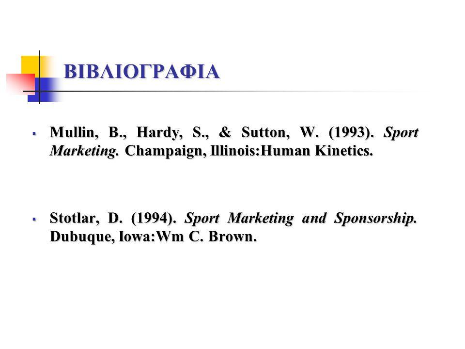 ΒΙΒΛΙΟΓΡΑΦΙΑ Mullin, B., Hardy, S., & Sutton, W. (1993). Sport Marketing. Champaign, Illinois:Human Kinetics.