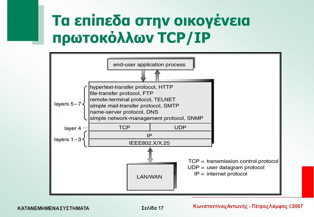 Τα επίπεδα στην οικογένεια πρωτοκόλλων TCP/IP