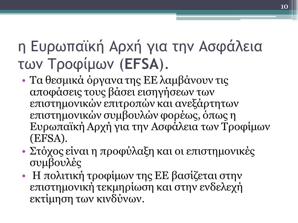 η Ευρωπαϊκή Αρχή για την Ασφάλεια των Τροφίμων (EFSA).