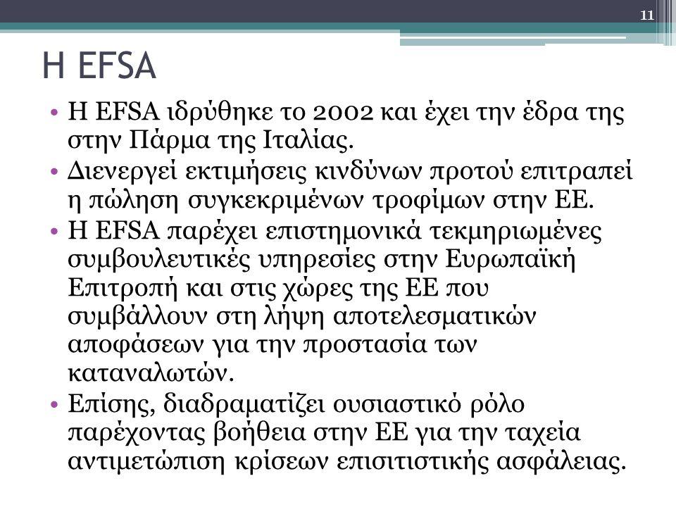 Η EFSA Η EFSA ιδρύθηκε το 2002 και έχει την έδρα της στην Πάρμα της Ιταλίας.