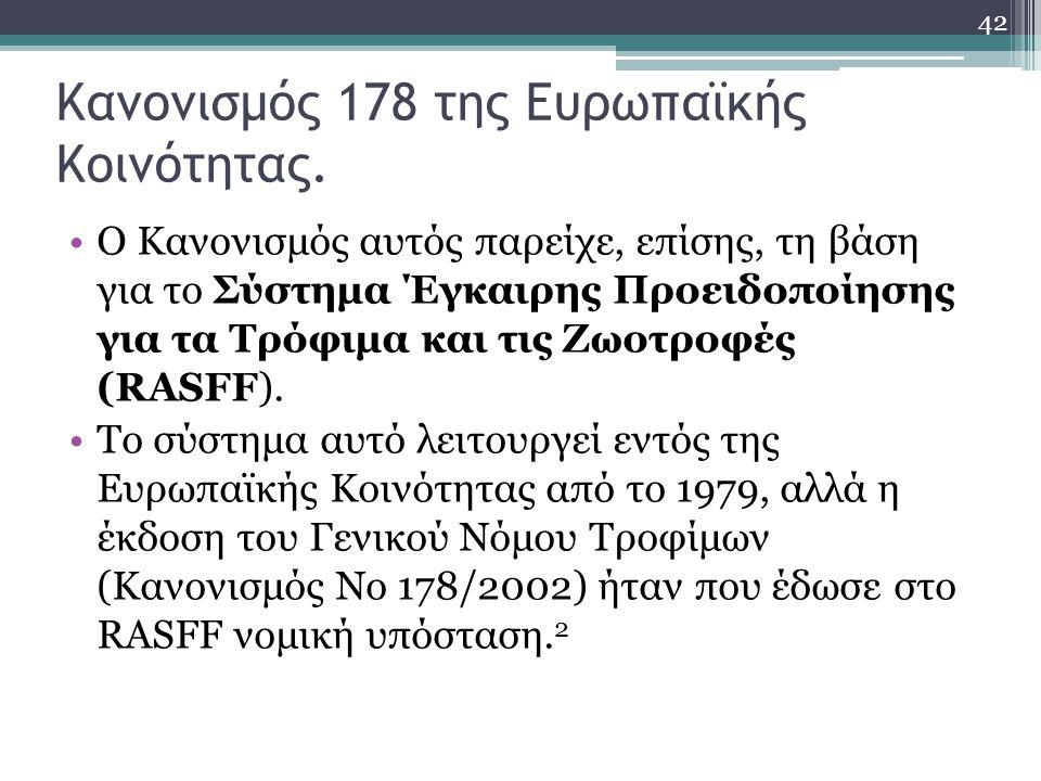 Κανονισμός 178 της Ευρωπαϊκής Κοινότητας.