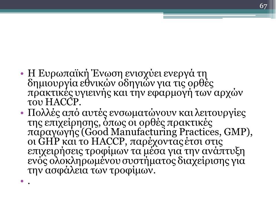 Η Ευρωπαϊκή Ένωση ενισχύει ενεργά τη δημιουργία εθνικών οδηγιών για τις ορθές πρακτικές υγιεινής και την εφαρμογή των αρχών του HACCP.