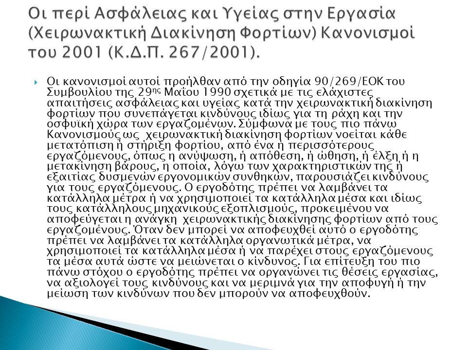Οι περί Ασφάλειας και Υγείας στην Εργασία (Χειρωνακτική Διακίνηση Φορτίων) Κανονισμοί του 2001 (Κ.Δ.Π. 267/2001).
