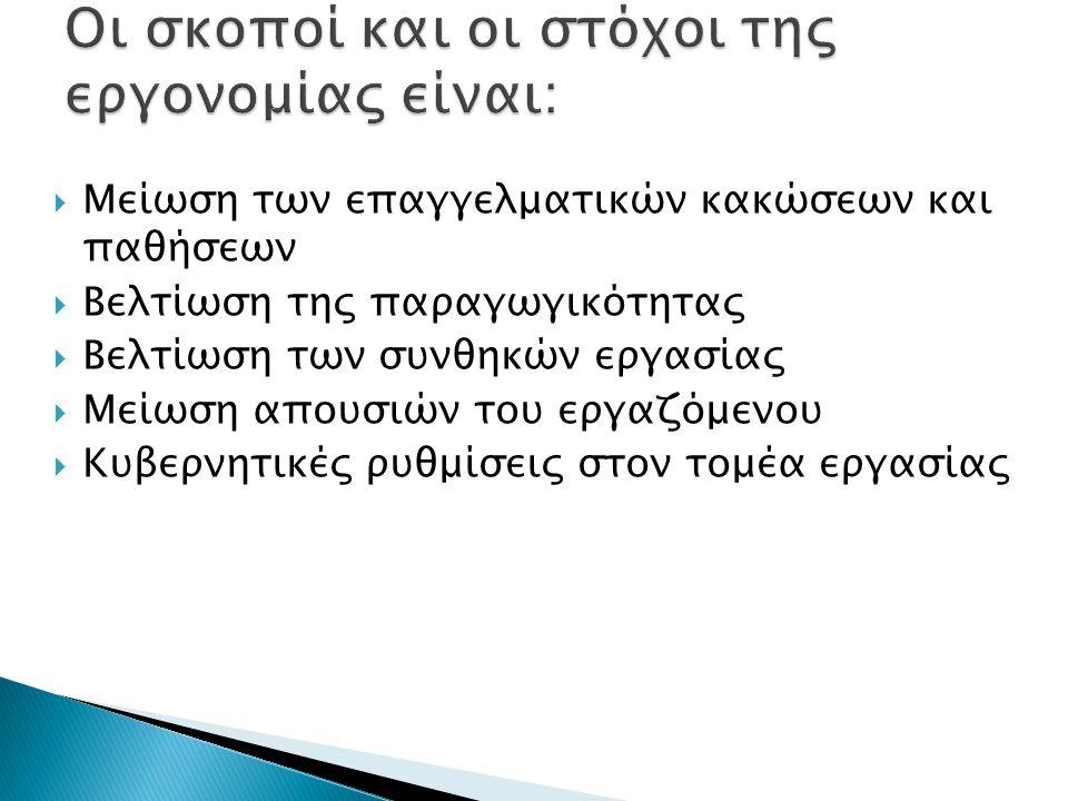 Οι σκοποί και οι στόχοι της εργονομίας είναι: