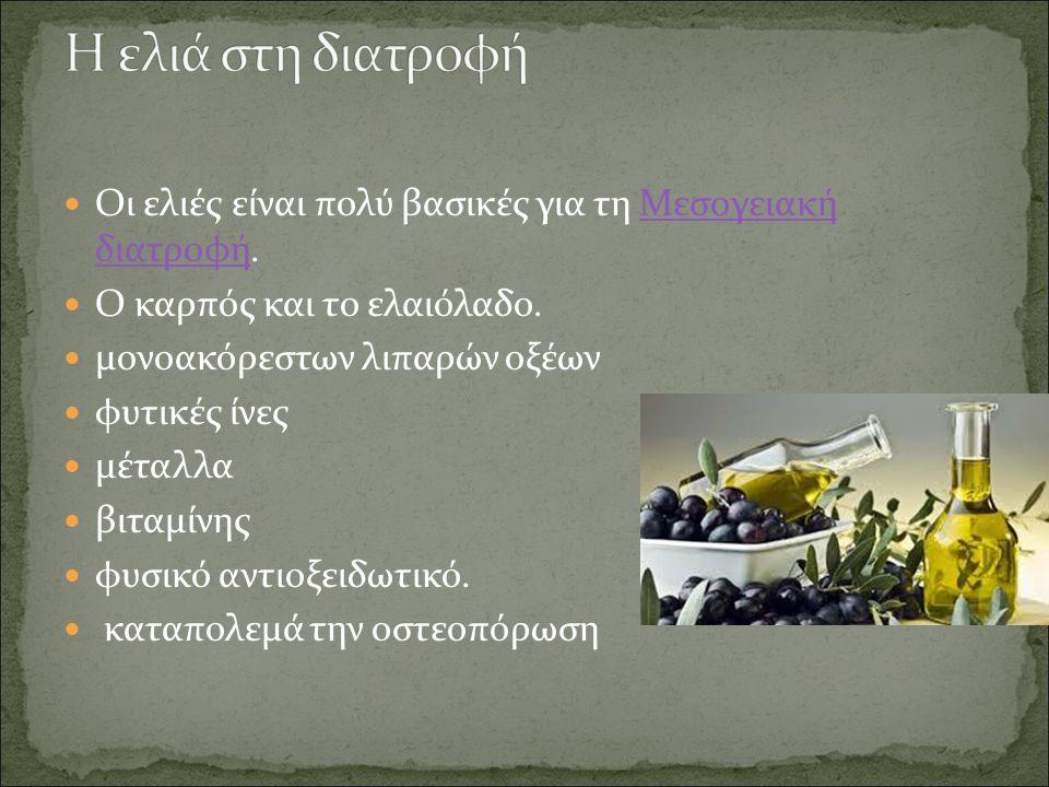 Η ελιά στη διατροφή Οι ελιές είναι πολύ βασικές για τη Μεσογειακή διατροφή. Ο καρπός και το ελαιόλαδο.