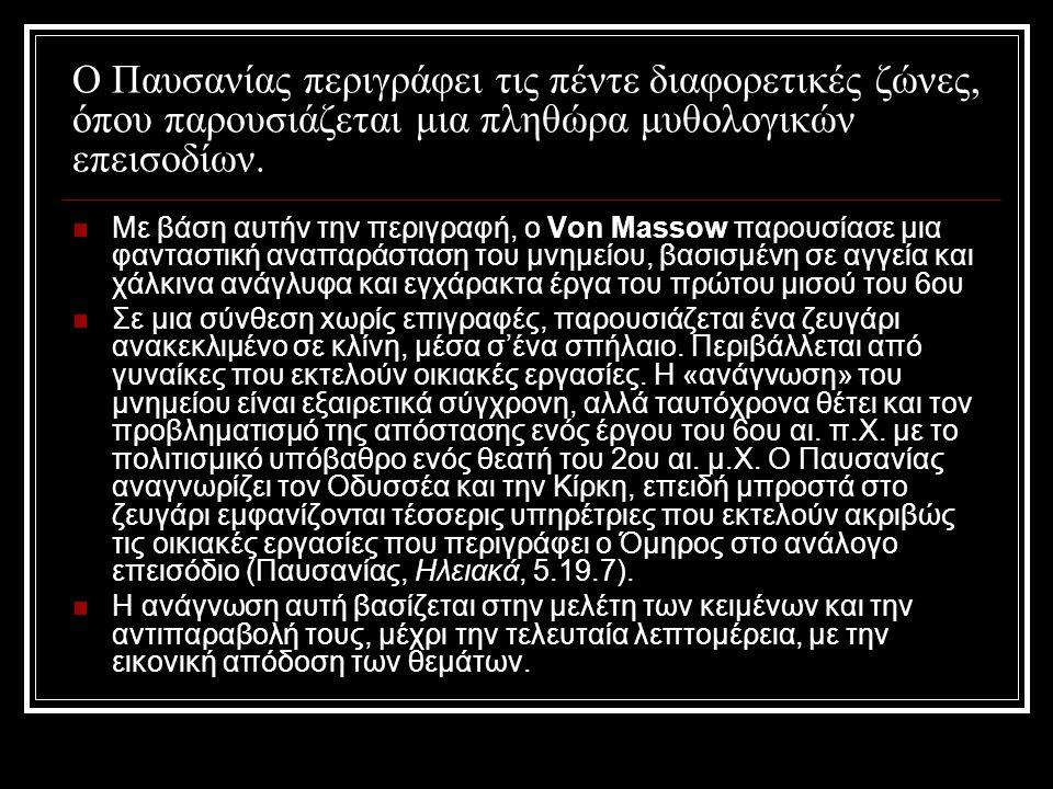 Ο Παυσανίας περιγράφει τις πέντε διαφορετικές ζώνες, όπου παρουσιάζεται μια πληθώρα μυθολογικών επεισοδίων.