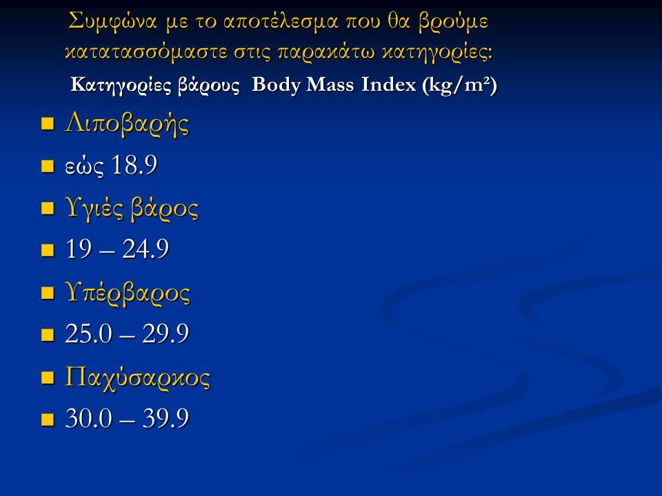 Λιποβαρής εώς 18.9 Υγιές βάρος 19 – 24.9 Υπέρβαρος 25.0 – 29.9