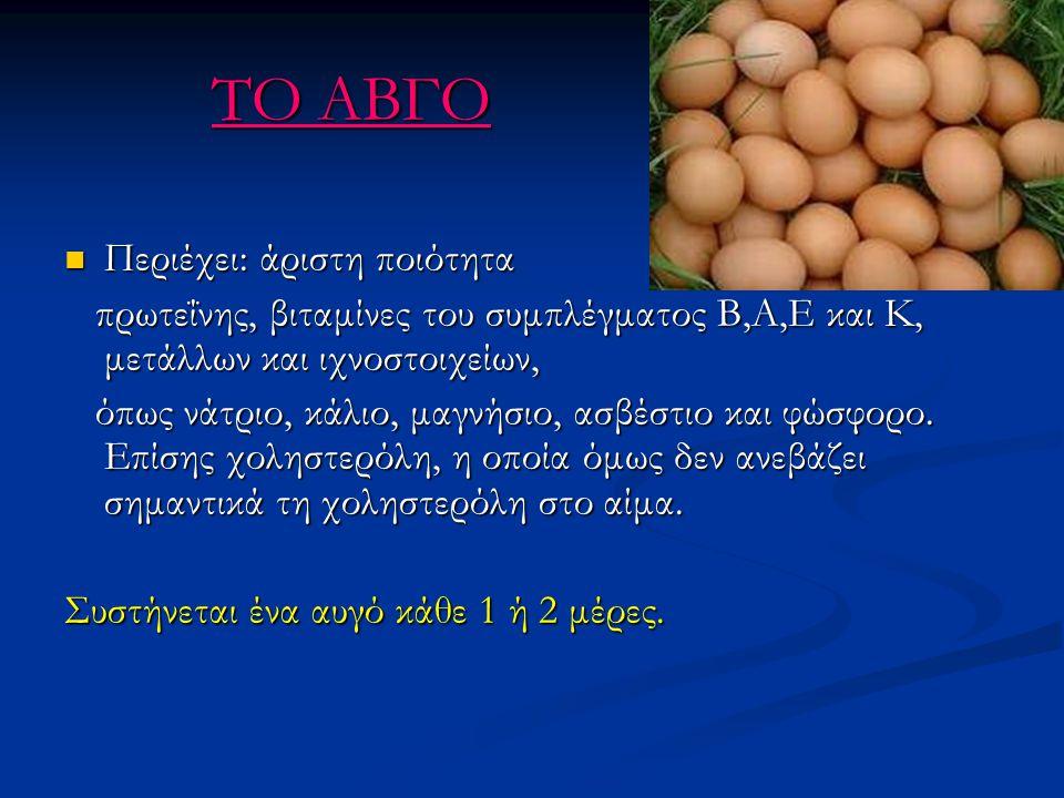 ΤΟ ΑΒΓΟ Περιέχει: άριστη ποιότητα