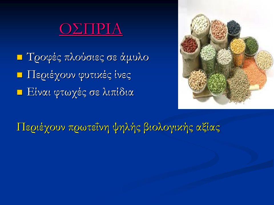 ΟΣΠΡΙΑ Τροφές πλούσιες σε άμυλο Περιέχουν φυτικές ίνες