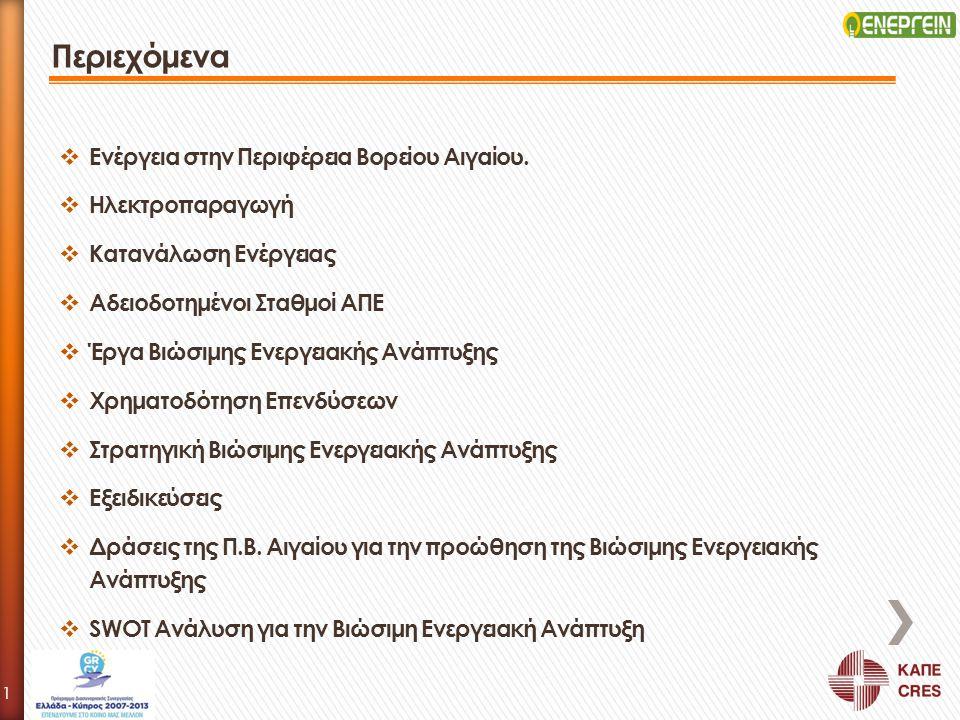 Περιεχόμενα Ενέργεια στην Περιφέρεια Βορείου Αιγαίου. Ηλεκτροπαραγωγή