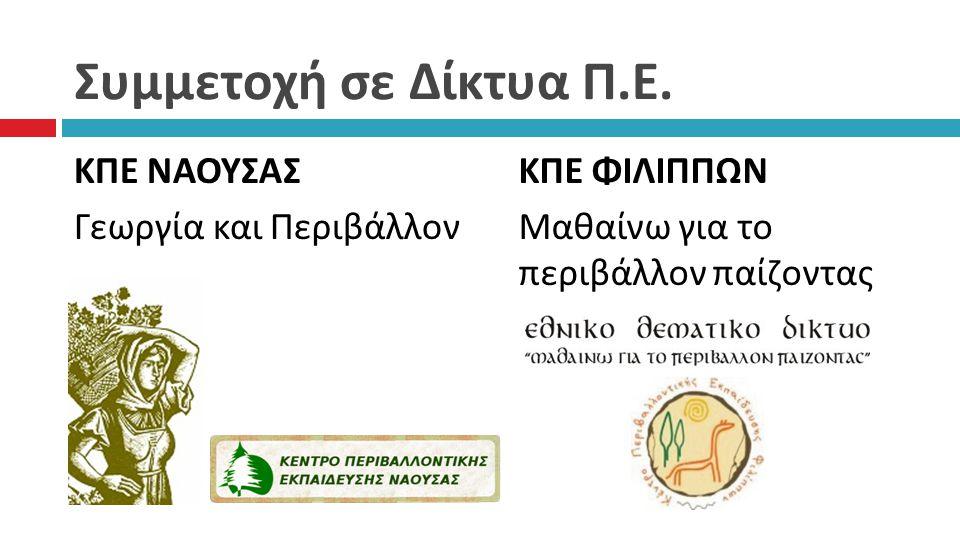 Συμμετοχή σε Δίκτυα Π.Ε. ΚΠΕ ΝΑΟΥΣΑΣ Γεωργία και Περιβάλλον