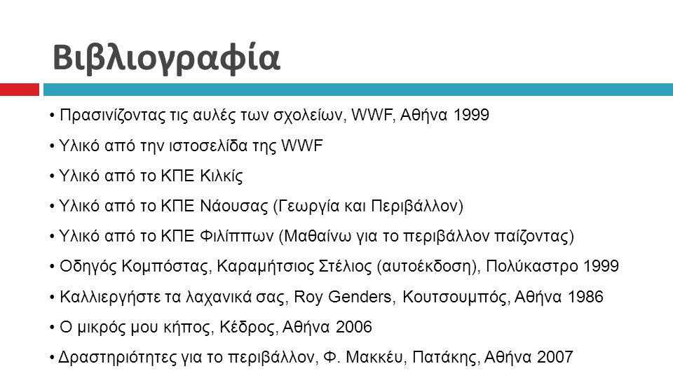 Βιβλιογραφία Πρασινίζοντας τις αυλές των σχολείων, WWF, Αθήνα 1999