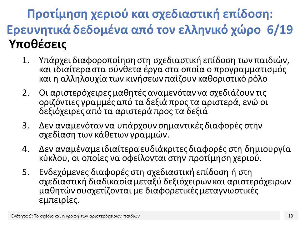 Προτίμηση χεριού και σχεδιαστική επίδοση: Ερευνητικά δεδομένα από τον ελληνικό χώρο 6/19