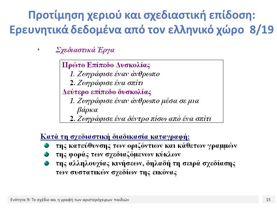 Προτίμηση χεριού και σχεδιαστική επίδοση: Ερευνητικά δεδομένα από τον ελληνικό χώρο 8/19