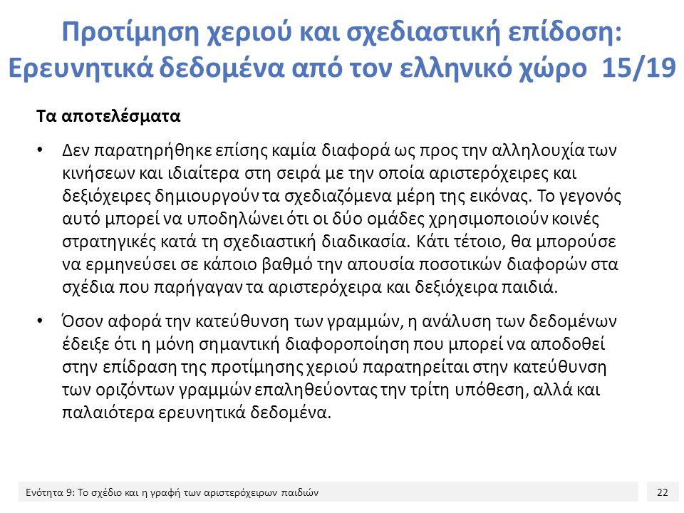 Προτίμηση χεριού και σχεδιαστική επίδοση: Ερευνητικά δεδομένα από τον ελληνικό χώρο 15/19