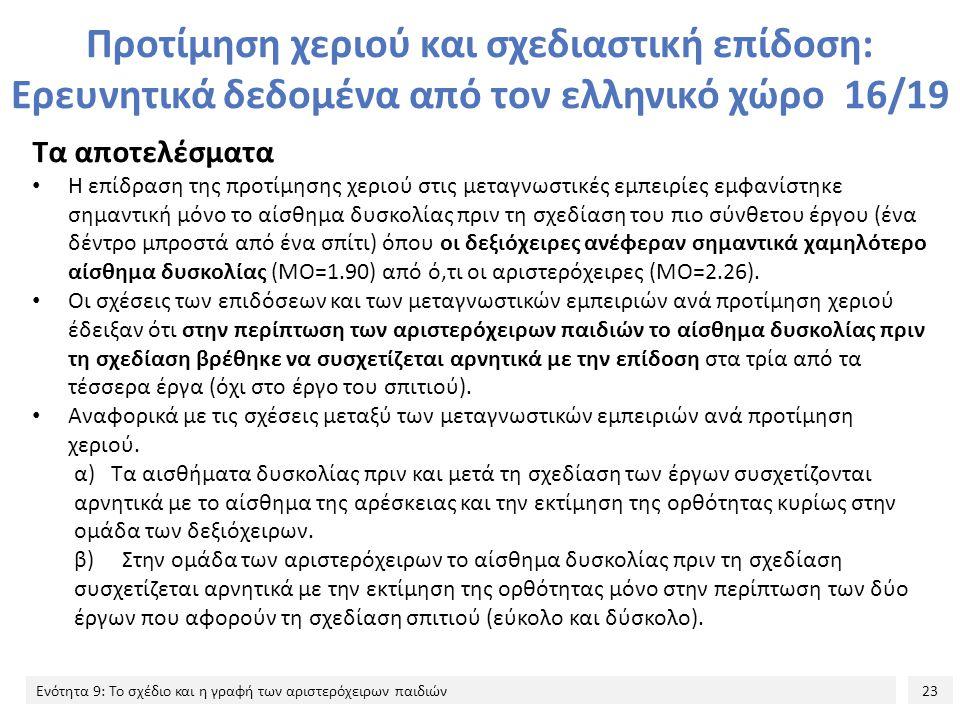 Προτίμηση χεριού και σχεδιαστική επίδοση: Ερευνητικά δεδομένα από τον ελληνικό χώρο 16/19