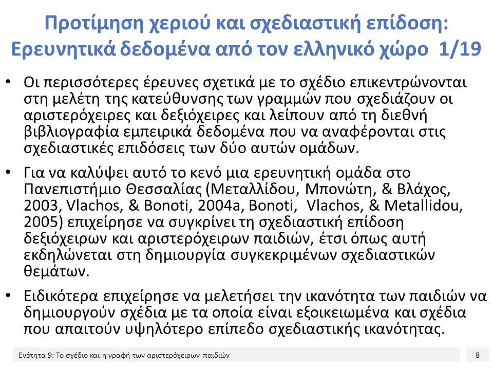 Προτίμηση χεριού και σχεδιαστική επίδοση: Ερευνητικά δεδομένα από τον ελληνικό χώρο 1/19