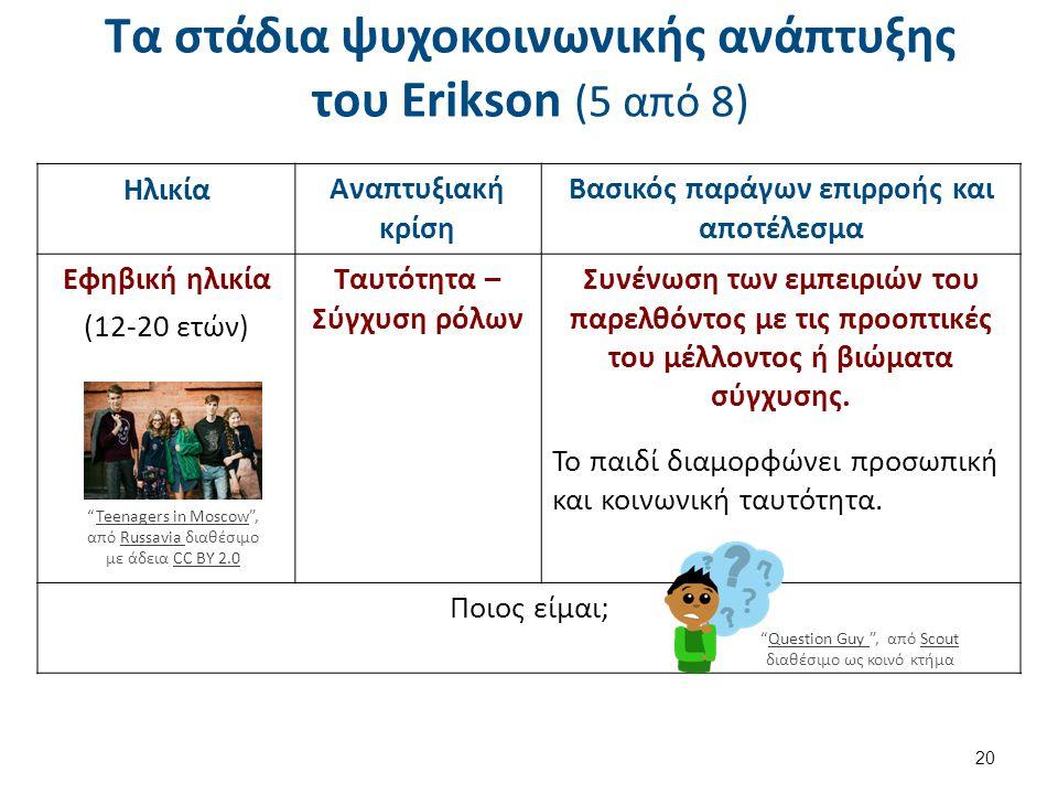 Τα στάδια ψυχοκοινωνικής ανάπτυξης του Erikson (6 από 8)
