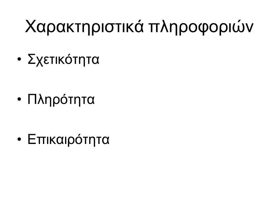 Χαρακτηριστικά πληροφοριών
