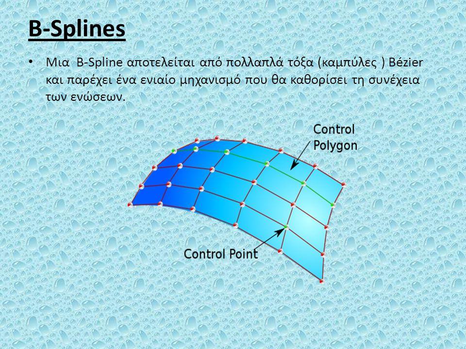 B-Splines Μια B-Spline αποτελείται από πολλαπλά τόξα (καμπύλες ) Bézier και παρέχει ένα ενιαίο μηχανισμό που θα καθορίσει τη συνέχεια των ενώσεων.