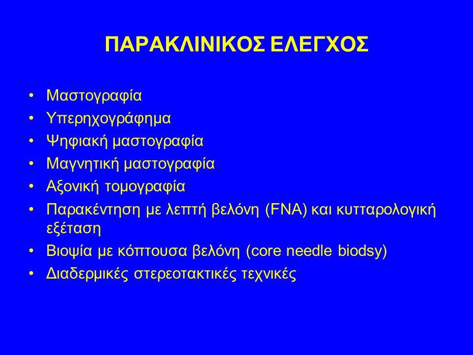 ΠΑΡΑΚΛΙΝΙΚΟΣ ΕΛΕΓΧΟΣ Μαστογραφία Υπερηχογράφημα Ψηφιακή μαστογραφία
