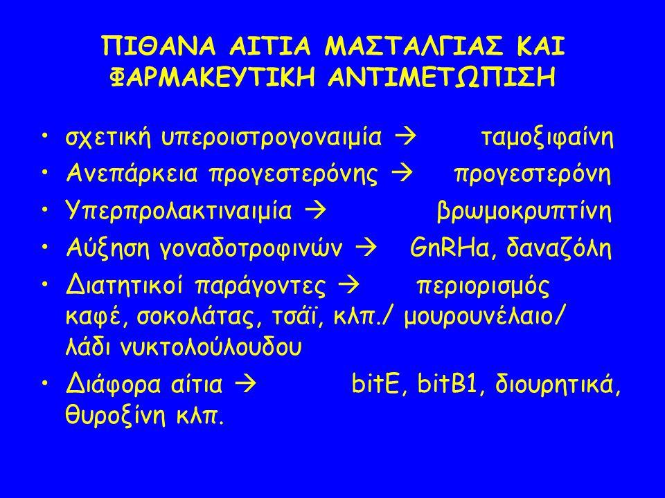 ΠΙΘΑΝΑ ΑΙΤΙΑ ΜΑΣΤΑΛΓΙΑΣ ΚΑΙ ΦΑΡΜΑΚΕΥΤΙΚΗ ΑΝΤΙΜΕΤΩΠΙΣΗ