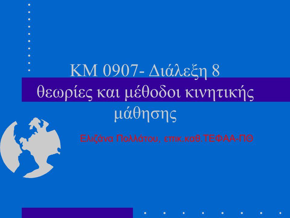 KM 0907- Διάλεξη 8 θεωρίες και μέθοδοι κινητικής μάθησης