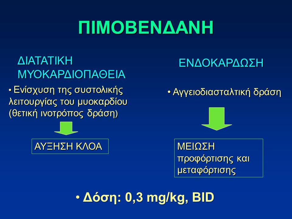 ΠΙΜΟΒΕΝΔΑΝΗ Δόση: 0,3 mg/kg, BID ΔΙΑΤΑΤΙΚΗ ΕΝΔΟΚΑΡΔΩΣΗ ΜΥΟΚΑΡΔΙΟΠΑΘΕΙΑ