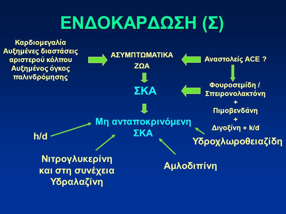 ΕΝΔΟΚΑΡΔΩΣΗ (Σ) ΣΚΑ Μη ανταποκρινόμενη ΣΚΑ h/d Υδροχλωροθειαζίδη