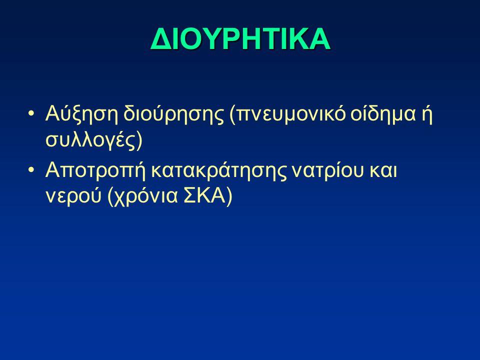 ΔΙΟΥΡΗΤΙΚΑ Αύξηση διούρησης (πνευμονικό οίδημα ή συλλογές)