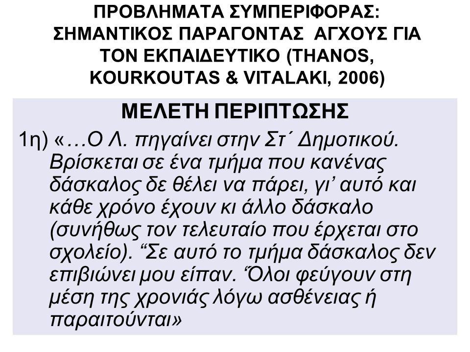 ΠΡΟΒΛΗΜΑΤΑ ΣΥΜΠΕΡΙΦΟΡΑΣ: ΣΗΜΑΝΤΙΚΟΣ ΠΑΡΑΓΟΝΤΑΣ ΑΓΧΟΥΣ ΓΙΑ ΤΟΝ ΕΚΠΑΙΔΕΥΤΙΚΟ (THANOS, KOURKOUTAS & VITALAKI, 2006)