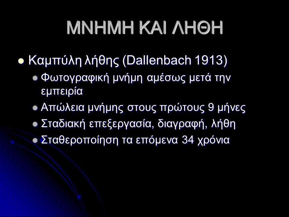 ΜΝΗΜΗ ΚΑΙ ΛΗΘΗ Καμπύλη λήθης (Dallenbach 1913)