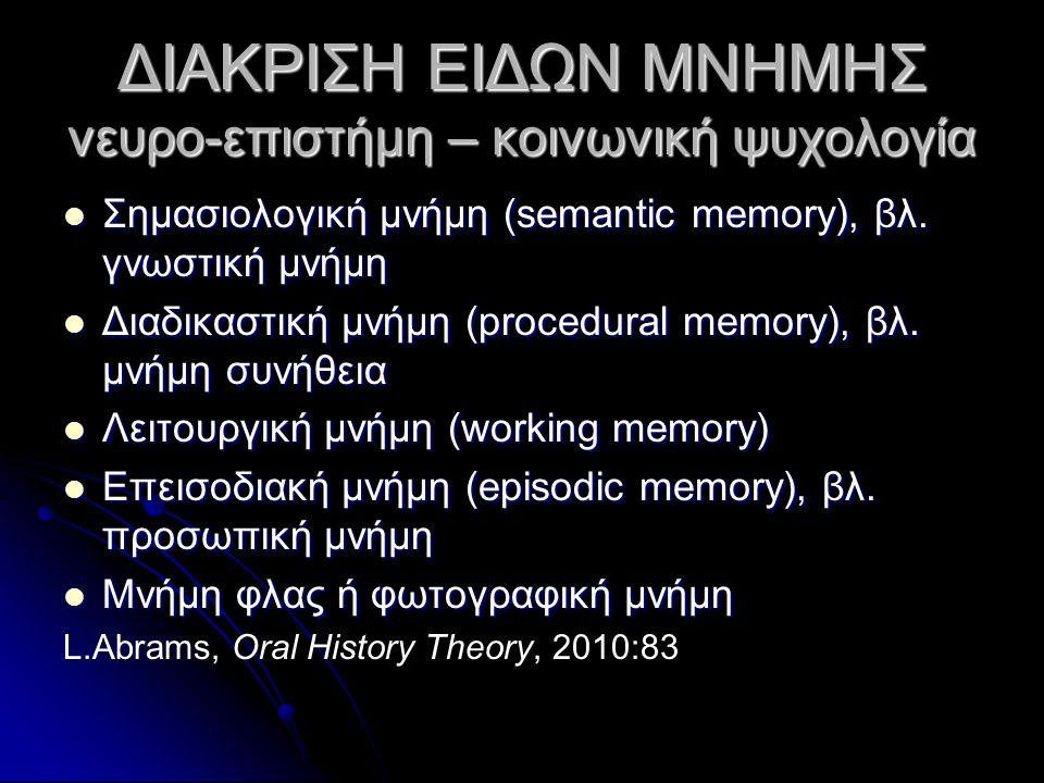 ΔΙΑΚΡΙΣΗ ΕΙΔΩΝ ΜΝΗΜΗΣ νευρο-επιστήμη – κοινωνική ψυχολογία