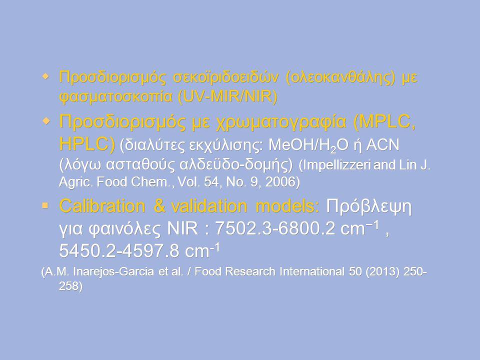 Προσδιορισμός σεκοϊριδοειδών (ολεοκανθάλης) με φασματοσκοπία (UV-MIR/NIR)