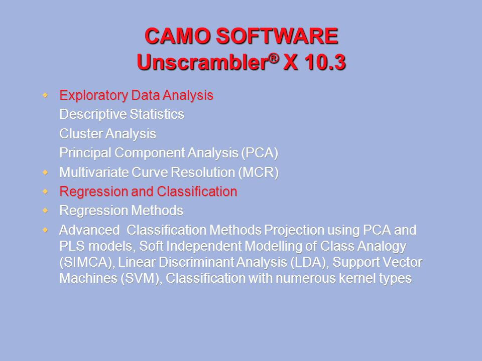 CAMO SOFTWARE Unscrambler® X 10.3