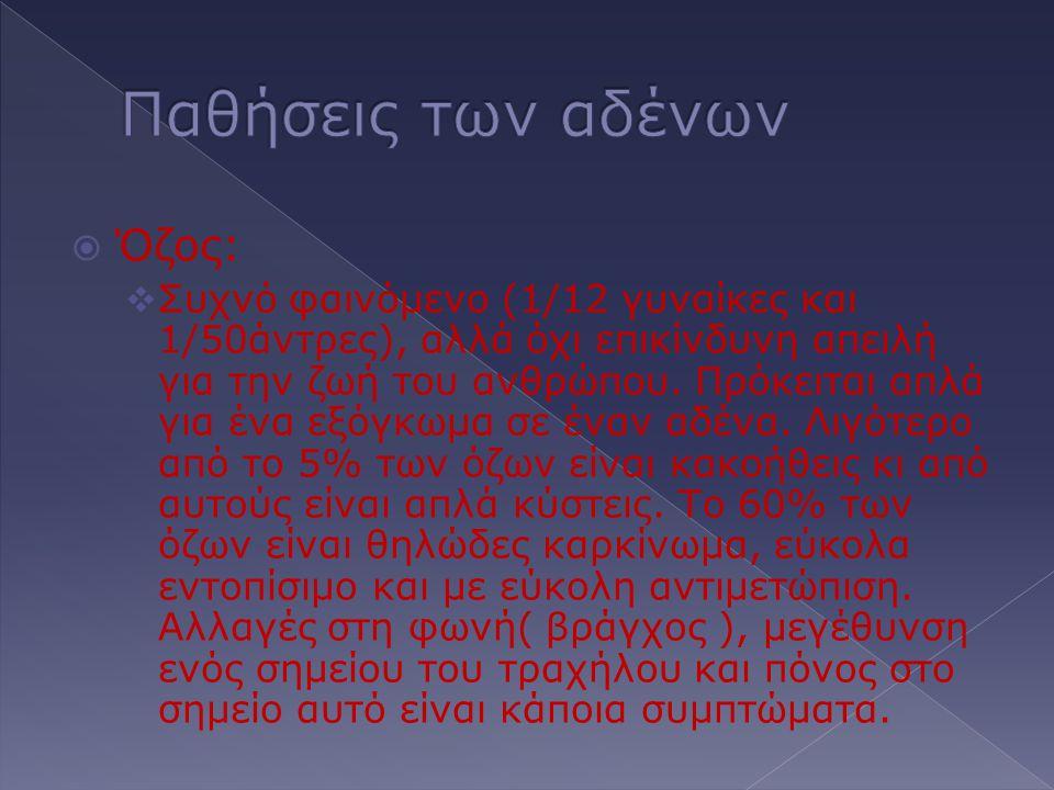 Παθήσεις των αδένων Όζος: